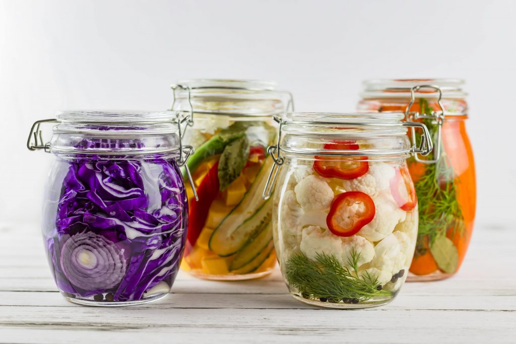 healthy fermented vegetables in a jar